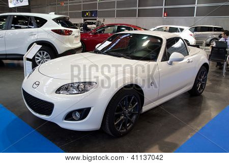 VALENCIA, SPAIN - DECEMBER 7: A 2012 Mazda MX-5 Miata Roadster at the Valencia Car Show on December 7, 2012 in Valencia, Spain.