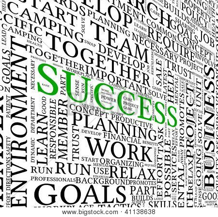 Success concept related words in tag cloud isolated on white