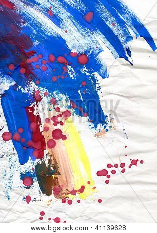 Abstract blue painting background with expressive brush strokes