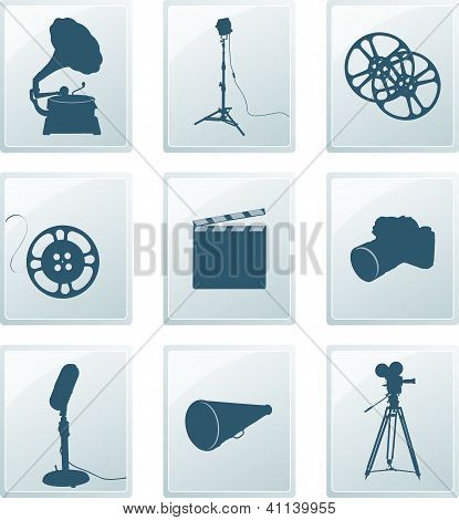 Icons with retro silhouettes of gramophone, reflector, film, camera, microphone, megaphone...