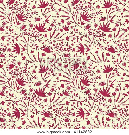 Painted abstract florals seamless pattern background