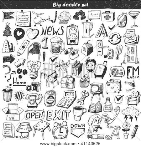Doodle grande conjunto - elemento de design