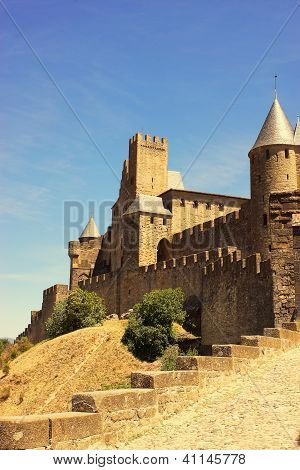 The Walled Fortress Of Carcassonne, France