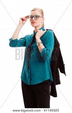 seriously businesswoman holding jacket