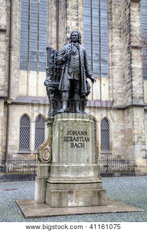 Monument for Johann Sebastian Bach in front of the Thomas Church (Thomaskirche). Leipzig, Germany
