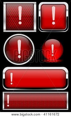 Red Warning Icon Set