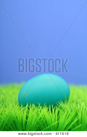 Blue Easter Egg On Grass