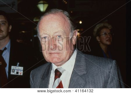 BLACKPOOL, ENGLAND - OCTOBER 10: Sir Giles Shaw, Conservative party Member of Parliament for Pudsey, attends the party conference on October 10, 1989 in Blackpool, Lancashire. He died in April 2000.