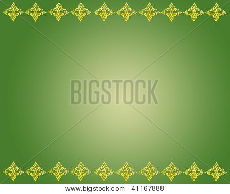 Golden Flower Pattern On Green Background Textures