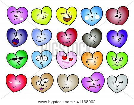 An Illustration of Different Variations Heart Icons