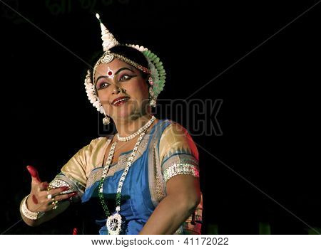An experienced Odissi dancer performing