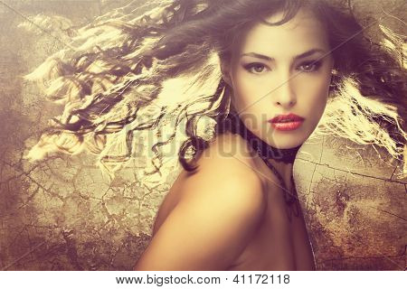 magical fantasy beauty young woman with hair in motion portrait
