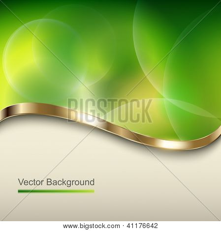 Abstract green background with metallic wave, vector.