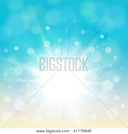 Natural blue background with vector sun.
