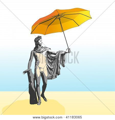 The God Apollo With Umbrella.eps