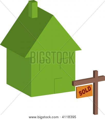 House 3D Green With Sold Sign