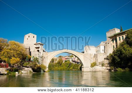 Ancient Bridge Over Neretva River In Mostar