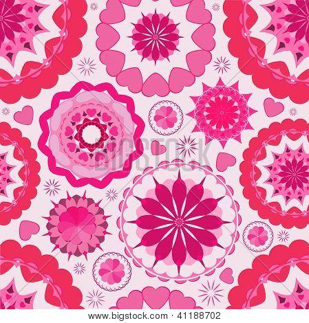 Flower seamless pattern background. Pink.