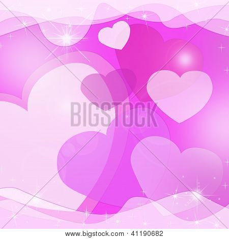 Abstract Pink Background With Valentine Hearts And Veil