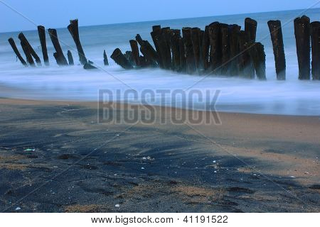 Wave breakers on the beach