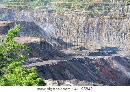 Coal fire in opencast coal mine