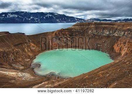 Giant volcano Askja offers a view at two crater lakes. The smaller, turquoise one is called Viti and contains warm geothermal water and is good for swimming.