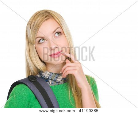 Thoughtful Student Girl With Backpack
