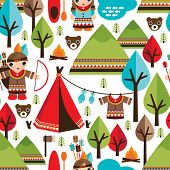 stock photo of teepee  - Seamless kids American indian native retro animal background pattern in vector - JPG