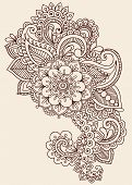 Henna Paisley Flowers Mehndi Tattoo Doodles Design- Abstract Floral Illustration Design Elements