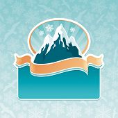 Mountain landmark emblem poster