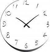 stock photo of tick tock  - Black and white analogue cartoon wall clock vector Clock - JPG