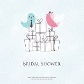 Bridal shower invitation with two cute  birds in bride and groom costumes sitting on the present box