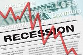 picture of stock market crash  - Recession graphic to represent economic downturn and stock market crash - JPG