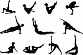 stock photo of grayscale  - Pilates silhouettes of working out and stretching on the white background - JPG