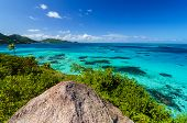 stock photo of blue crab  - View of Caribbean Sea and Providencia as seen from the top of Crab Caye in San Andres y Providencia Colombia - JPG