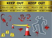 picture of crime scene  - Caution sign lines body contour blood marks and cones at the crime scene - JPG