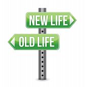 image of start over  - New or old life sign illustration design over white - JPG
