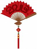 image of chinese new year 2013  - 2013 Chinese New Year of the Snake on Red Chinese Paper Fan with Tassel Jade Beads and Sign with Good Fortune Text Illustration - JPG