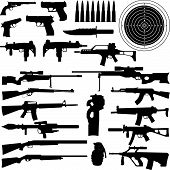 stock photo of kalashnikov  - silhouettes of weapons guns aims bullets grenade and Knives in very High detail - JPG