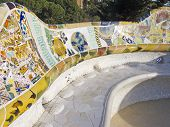 Mosaic of Park Guell designed by Antonio Gaudi