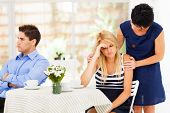 stock photo of she-male  - mother comforting daughter when she has relationship difficulties - JPG