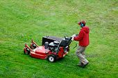 stock photo of lawn grass  - Man mowing the lawn with copy space - JPG