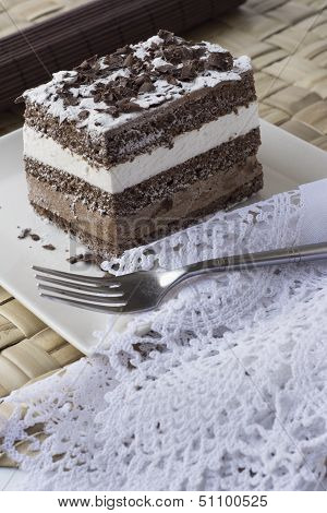 Chocolate Cake. Musse And Chantilly Cream