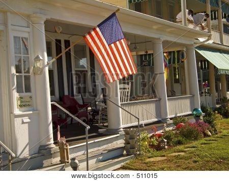 Flagge und Veranda