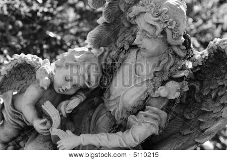 Old Angel With Child Angel Sculpture
