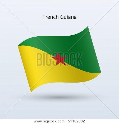 French Guiana flag waving form.