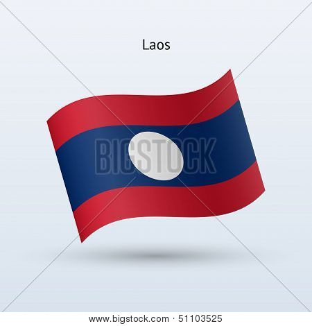 Laos flag waving form. Vector illustration.