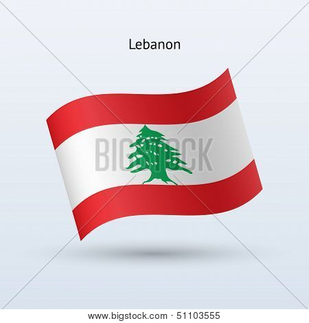 Lebanon flag waving form. Vector illustration.