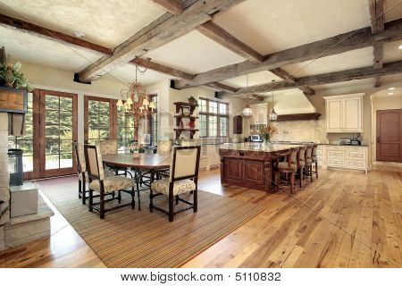 Kitchen With Wood Beams
