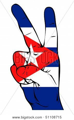Peace Sign of the Cuban flag